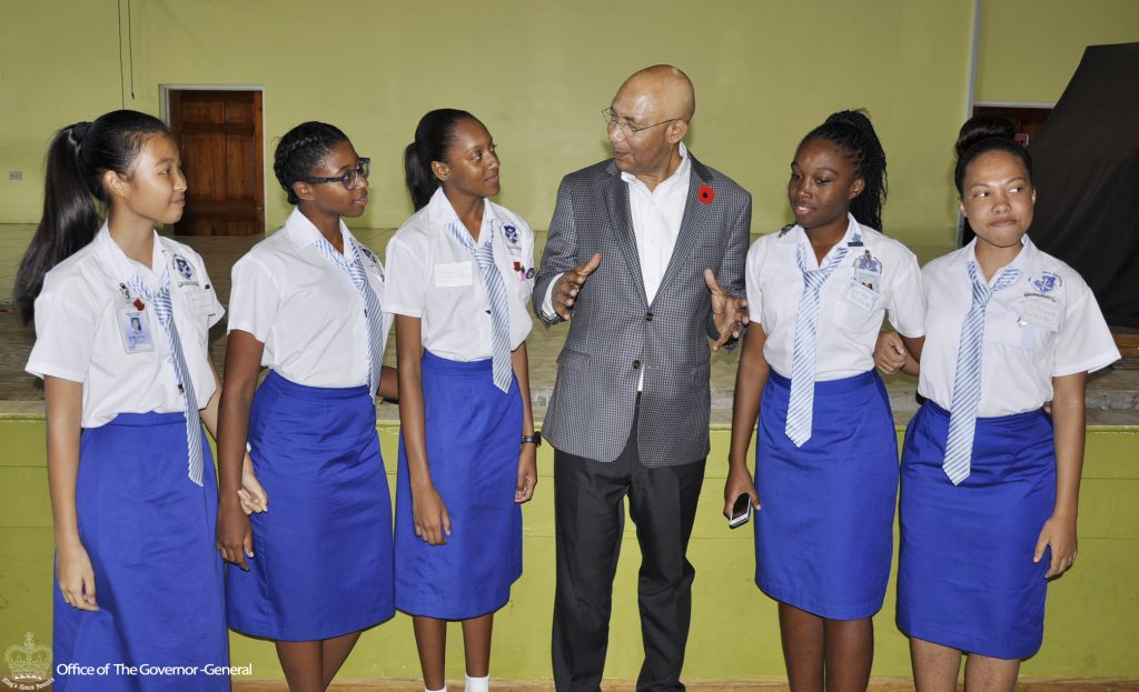 Governor- General Sir Patrick Allen interacts with delegates from Mount Alvernia High School at the I Believe Initiative (IBI) Youth Consultative Conference (YCC) for the County of Cornwall in Montego Bay on Thursday (October 13, 2016).