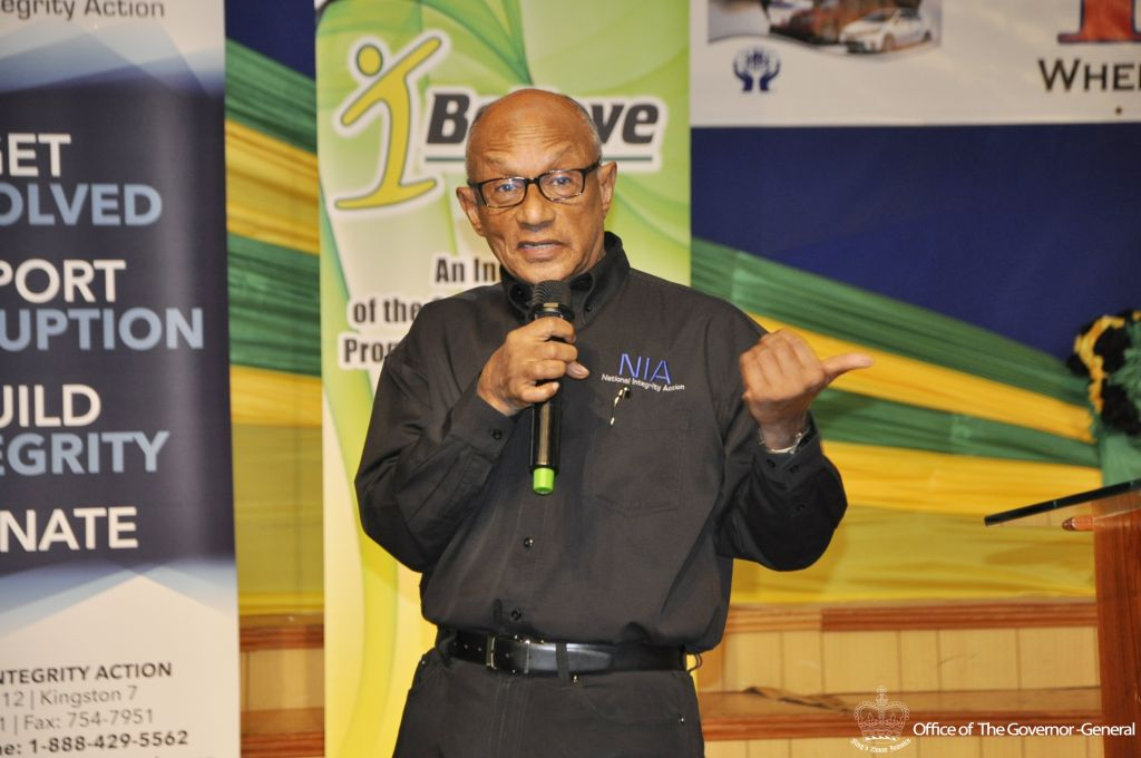 Executive Director of the National Integrity Action, Professor Trevor Munroe, responds to a question posed by a delegate of the I Believe Initiative (IBI) Youth Consultative Conference (YCC) for the County of Cornwall in Montego Bay on Thursday (October 13, 2016).