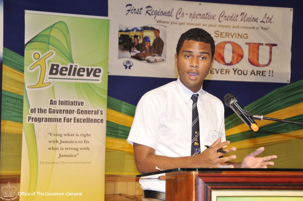 A student of Manning's School presents his entrepreneurial idea of customized caskets during the segment of the IBI Youth Consultative Conference (YCC) hosted by Junior Achievement Jamaica in Montego Bay on Thursday (October 13, 2016).