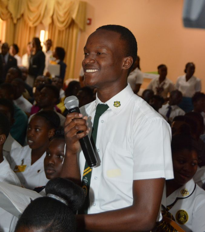 "Student of Vere Technical High School in Clarendon, Javon Morrison, making his contribution to the second 'I Believe Initiative (IBI) Youth Consultative Conference, held yesterday (October 20, 2016) at Cardif Hotel and Spa in St. Ann under the theme, ""Inspiring individuals. Building stronger communities"". This was for the youth in the County of Middlesex."